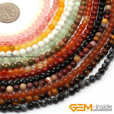 "Wholesale Lot Natural Gemstone Round Spacer Loose Beads 15"" 6mm 8mm 10mm 12mm"