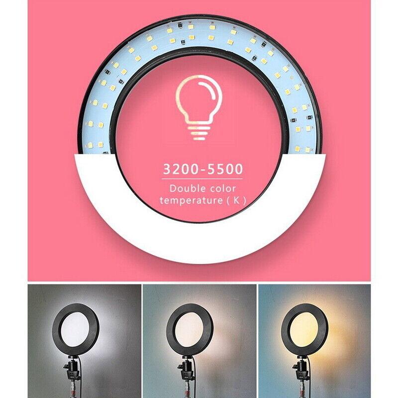 "10"" Dimmable 5500K LED Ring Light Kit + Tripod for Phone Camera Selfie LI 7"
