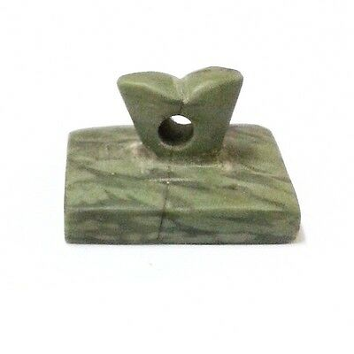 Old Near Eastern Intaglio Animal Carving Jade Stone Stamp Collectible Green 8