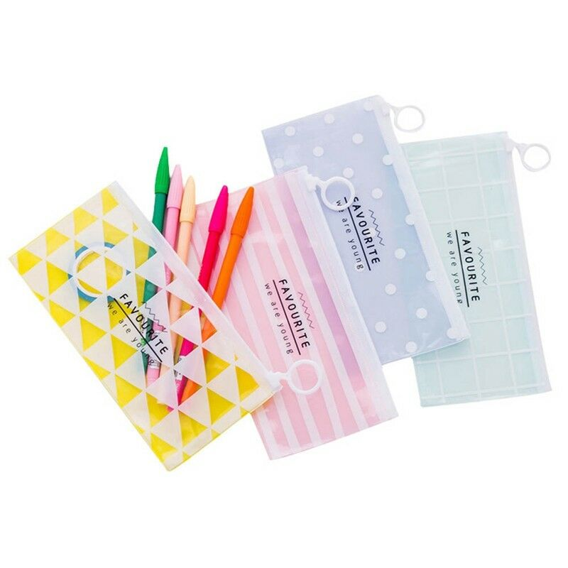 Transparent Sac Trousse Zipper Papeterie Cosmétiques Stockage Cadeau Enfants Bon 2