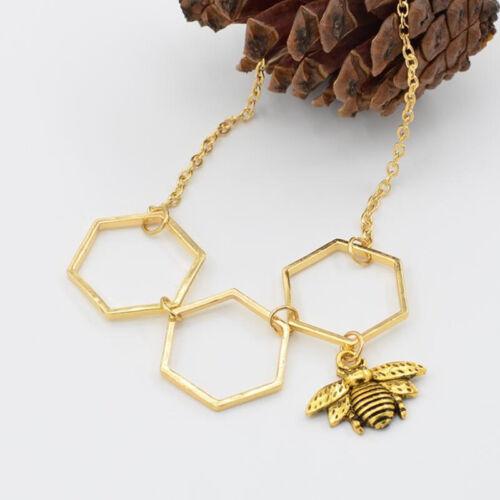 Women Hollow Hexagon Hive Necklaces Bee Honeycomb Pendant Necklace BL3