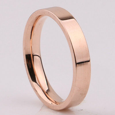 3mm Silver/Gold/Rose Gold/Black Band Women Men's Titanium Steel Engagement Ring 8