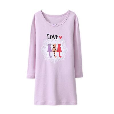 Girls Nightdress Nightie kid Pyjamas Cotton Long sleeve Nightwear Age 2-10 Years 3