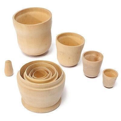 5pcs DIY Unpainted Blank Wooden Embryo Russian Nesting Dolls Matryoshka Toy Gift 2
