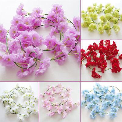 2m Artificial Cherry Blossoms Rattan Sakura For Wedding Arch Hanging Wreath Deco 8