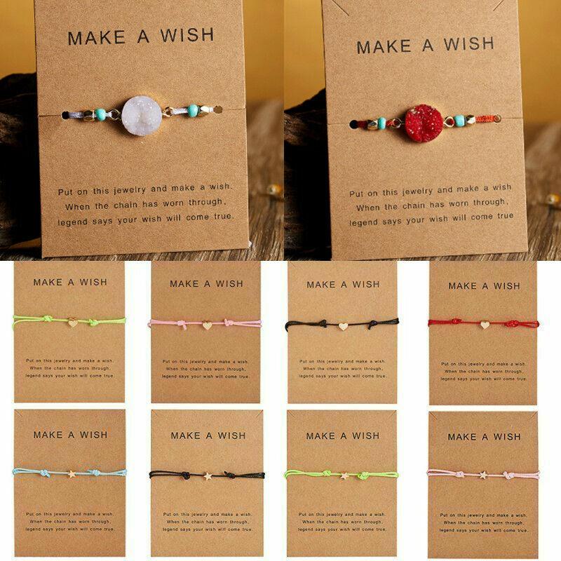 Handmade Heart Star Rope Bracelet Bangle Friendship Couple Card Jewelry Gift Hot 2