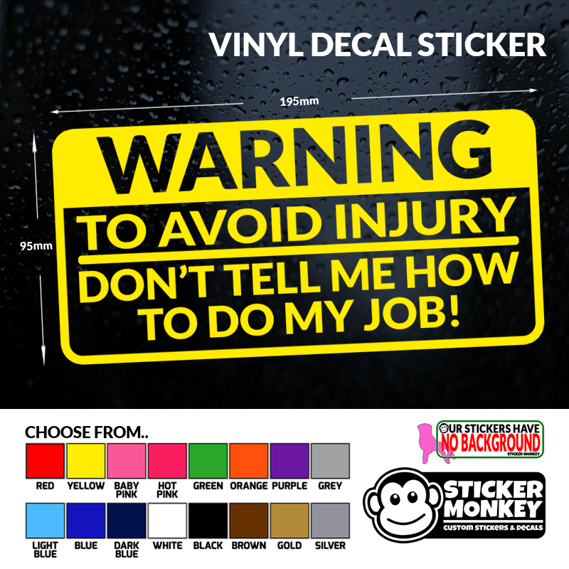 8.2in Funny WARNING TO AVOID SERIOUS INJURY Car Sticker Reflective Vinyl Decal