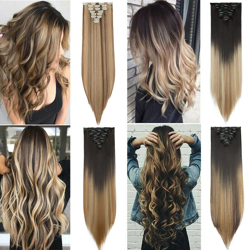 ON CLEARANCE Clip in 100% Real Natural as Human Hair Extensions 8 Pcs  Long Wavy 2