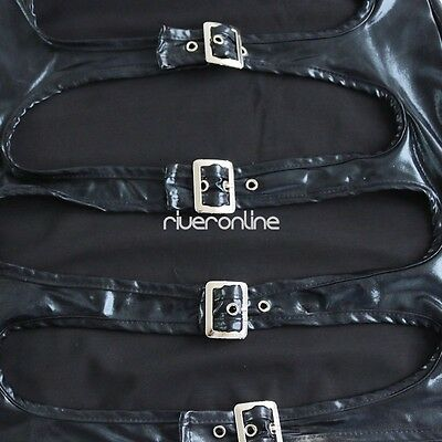 Damen PU Leder Wetlook Clubwear Party Minikleid G-String Handschuhe Dessous Set 7