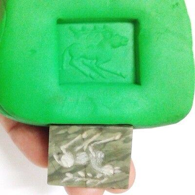 Old Near Eastern Intaglio Animal Carving Jade Stone Stamp Collectible Green 5