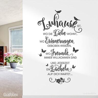 wandtattoo spruch zuhause liebe familie freunde zitat. Black Bedroom Furniture Sets. Home Design Ideas