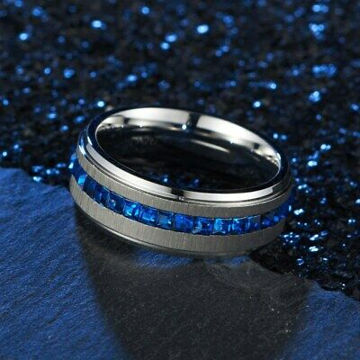 8MM Blue/White Cz Bands Men's Titanium Steel Silver/Black Brushed Ring Size 7-11 4