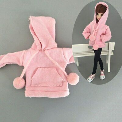 Pink Sweatshirt Doll Clothes Outfits Leather Pants Canvas Shoes For 1/6 Doll Toy 9