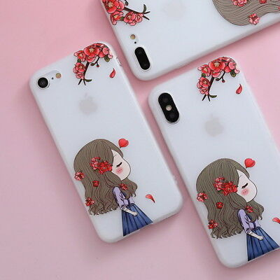 Shockproof Slim Soft TPU Matte Floral Pattern Cover Case For iPhone X 8 6 7 Plus 7