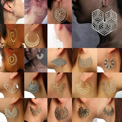 Boho Women Jewelry Holiday Gypsy Tribal Ethnic Mandala Hollow Hoop Earrings Gift 3