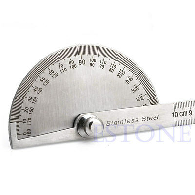 Stainless Steel 180 degree Protractor Angle Finder Arm Rotary Measuring Ruler 6