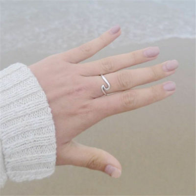 Ocean Wave Thin Stainless Steel Ring Gold Silver Rose Ring Wedding Band Womans