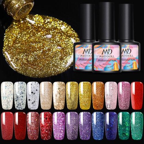 MAD DOLL 8ml Nail Glitter Sequins UV Gel Polish Soak Off Nail Art Varnish Decors 10