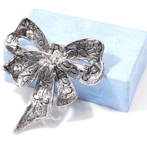 Vintage Enamel Art Deco Rhinestone Bow Tie Silvertone Pin Brooch Trinkets kim 2