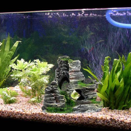 Mountain view aquarium rockery hiding cave tree fish tank for Aquarium mountain decoration