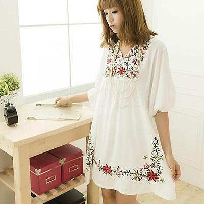 Hot Women Ethnic Mexican Floral Boho Peasant Dress Lady Materity Pregnant Dress! 3