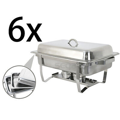 4 Of 10 6 Pack Segawe Full Size 8 Qt Stainless Steel Chafing Dishes With Durable Frames