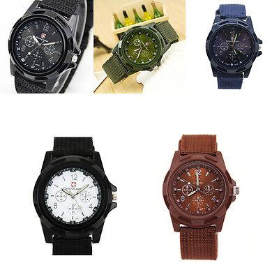 Men's Watch Wristwatch Sport Military Analog Army Quartz Canvas Strap Mens Gift 12