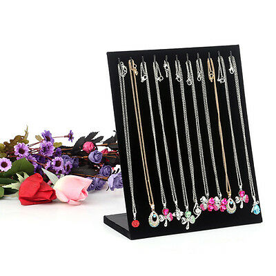 UK Black Velvet Chain Necklace Jewelry Display Holder Stand Easel Organizer Case 2