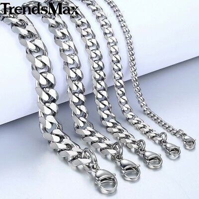 "18""-36"" Stainless Steel Silver Tone Chain Cuban Curb Mens Necklace 3/5/7/9/11mm 6"