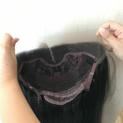 """AU 24"""" Natural Straight Synthetic Fiber Hair Handtied Off Black Lace Front Wig 8"""