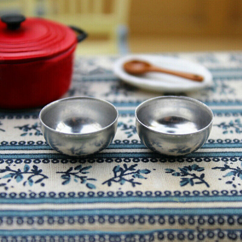 2pcs 1:12 Miniature iron bowl dollhouse diy doll house decor accessories I2