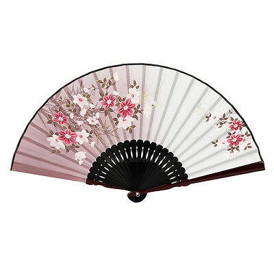 Japanese Chinese Hand Fan Folding Silk Bamboo Retro Printing Wedding Party Gift 4