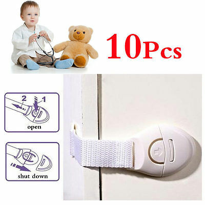 10Pcs Baby Kids Child Adhesive Safety Lock For Cabinet Door Drawers Refrigerator 2