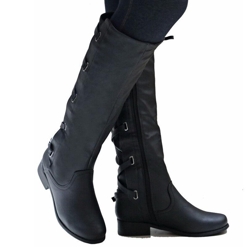 sneakers for cheap 3f102 964aa DAMEN SCHNÜREN WINTERSTIEFEL Kniehoch Stiefeletten Lang Boots Blockabsatz  Schuhe
