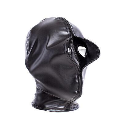 PU Leather Slave Restraint Head Mask Fetish Hood Zipper BDSM Sexy Adult Bondage 7