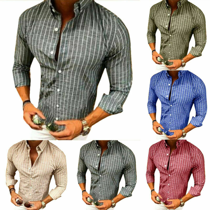 Mens Slim Fit Formal Dress Shirts Long Sleeve Stylish Muscle Tops Blouse T-shirt 4