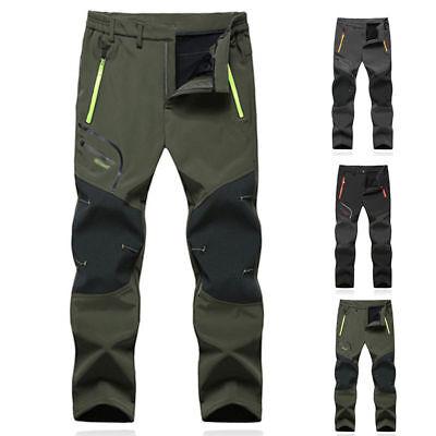 Men SOFT Shell Outdoor Trousers Thick Sugan Velvet Hiking Spots Pants Waterproof 2