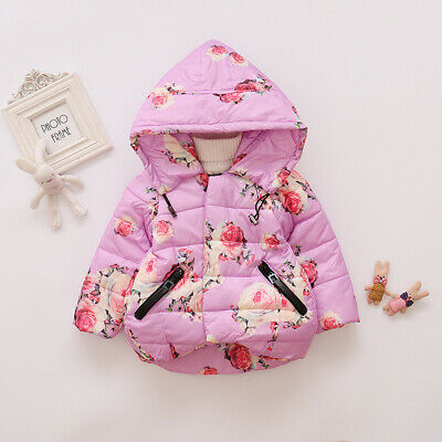 Toddler Baby Girls Floral Hooded Coat Outerwear Kids Jackets Warm Winter Clothes 3