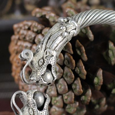 China old silver copper headed Double dragon Opera Ball Silver Bracelet 2