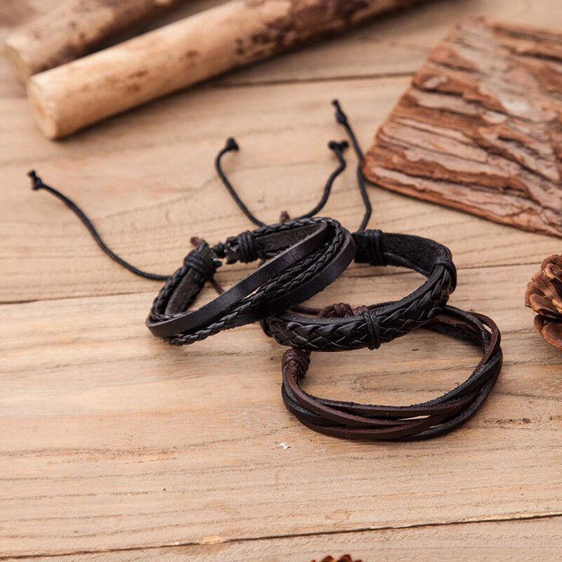 6 PCS Pulsera hombre vintage trenzada de cuerda de cuero multicapa Cuerda cera 5