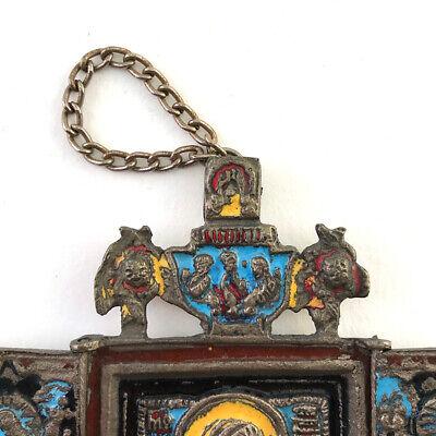 Antique Russian Orthodox Enameled Brass Folding Travel Skladen Icon, 19th C. 5