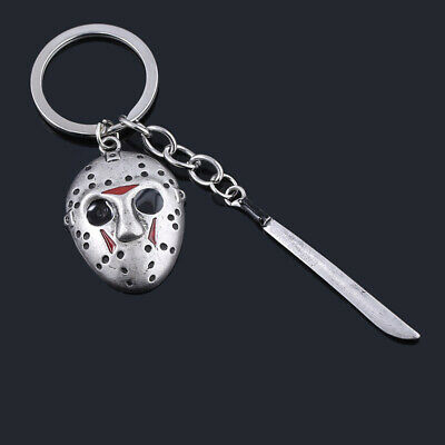 Friday the 13th Jason Voorhees Hockey Mask Kinfe Keychain Metal Keyring Jewelry 6