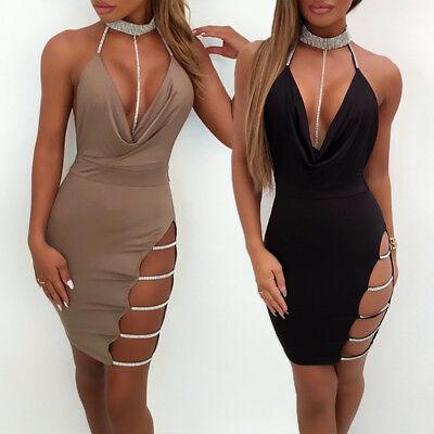 4 sur 11 Sexy Femme Bandage Robe de soirée moulante strass encolure en V  robe de cocktail 880a5de1fa6b