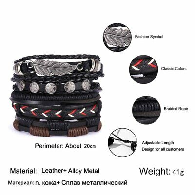 6pcs/set Multilayer Leather Bracelet Handmade Men Women Wristband Bangle Gifts 5