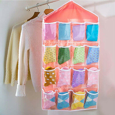 16 Pockets Door Wardrobe Hanging Organizer Bag Shoe Rack Hanger Closet Storage L 3