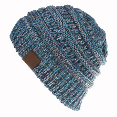Women's Ponytail Beanie Ribbed Winter Messy Bun Cable Warm Soft Knit Hat AU 9