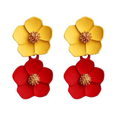Fashion Crystal Women Flower Drop Dangle Earrings Ear Stud Jewelry Double Layer 4