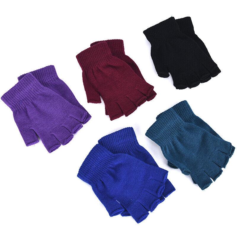 1 Pair Soft Half Fingerless Gloves Women Men Warm Knitted Mittens Couple _kz 10