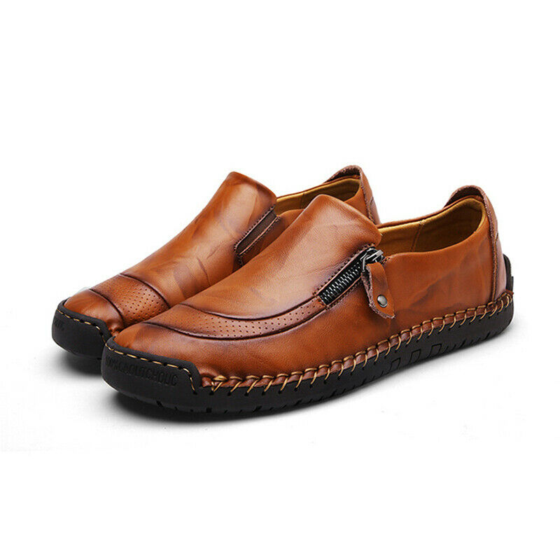 Men Zip Up Loafers Oxfords Moccasins Smart Office Work Slip On Casual Shoes Size 4