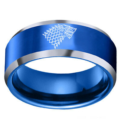 Direwolf House Stark Winterfell Valyrian Steel Band Game of Thrones Ring Sz 6-13 5